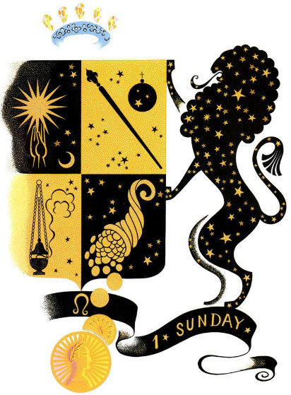 Zodiac Suite: Leo 1982 by  Erte