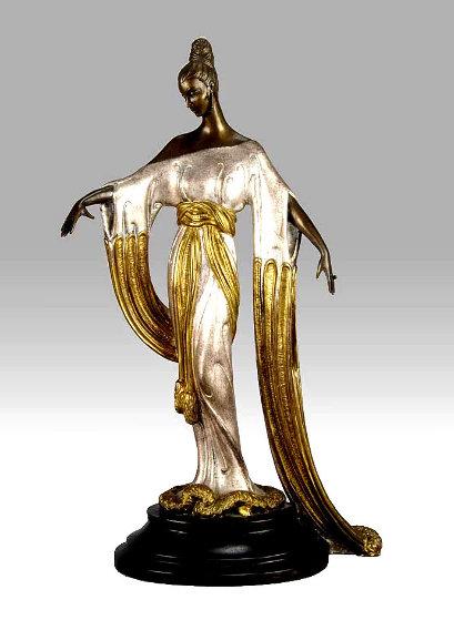 Negligee Bronze Sculpture 1984 17 in by  Erte