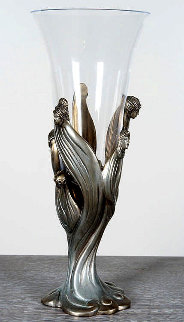 Visage De Femme Bronze and Crystal Chalice 1987 14 in Sculpture -  Erte