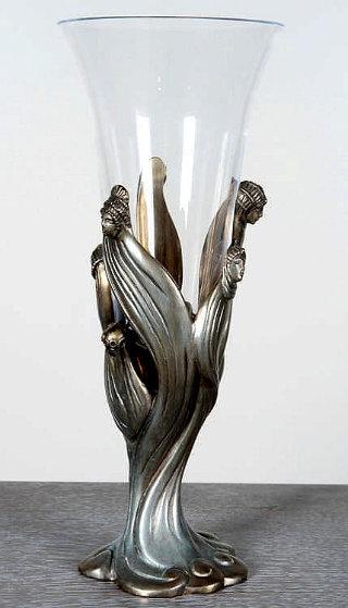Visage De Femme Bronze and Crystal Chalice 1987 14 in Sculpture by  Erte