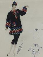 Etude De Costume 1960 18x14 Original Painting by  Erte - 1