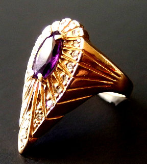 Peacock Gold Ring 1990 Jewelry by  Erte