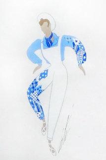 Blue Man 20x16 Works on Paper (not prints) -  Erte