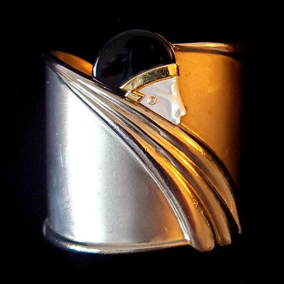 Silver Cuff Bracelet 1980 6 in Jewelry by  Erte