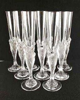 Flute Majestique Set of 10 Flues Glass Sculptures 1990 Sculpture -  Erte