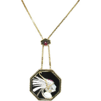 Fireflies Gold Pendant 2 in Jewelry -  Erte