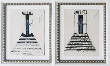 Jaeckel, Suite of 2 Gouaches 26x34 Works on Paper (not prints) by  Erte