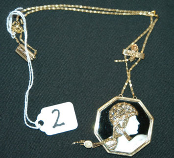 Aventurine State I Pendant/Necklace 1979 Jewelry by  Erte