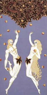 Adam and Eve 1982 Huge 44x30 Limited Edition Print -  Erte