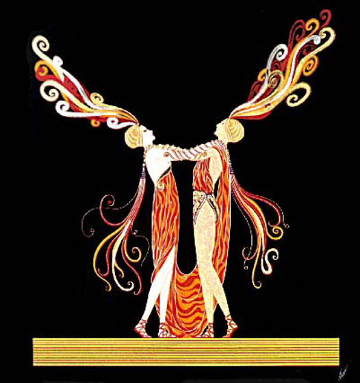 Kiss of Fire 1983 Limited Edition Print by  Erte