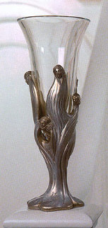 Visage De Femme Crystal Vase 1987 Sculpture -  Erte