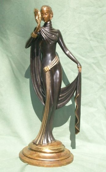 Le Masque Bronze Sculpture 1986 18 in Sculpture by  Erte