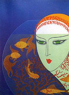 Fish Bowl 1977 Limited Edition Print -  Erte