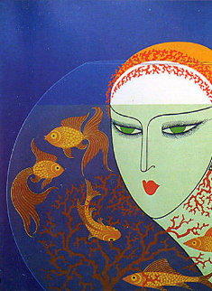 Fish Bowl 1977 Limited Edition Print by  Erte
