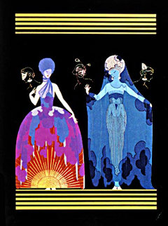 Morning Day/Evening Night Suite of 2  AP 1985 Limited Edition Print -  Erte