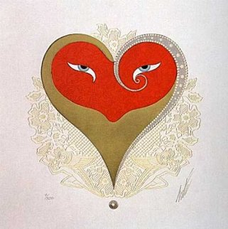 Heart II (Red And Gold) 1996 Limited Edition Print by  Erte