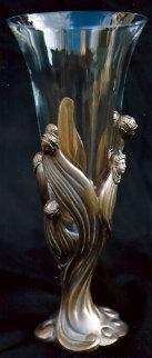 Visage De Femme Crystal and Bronze Vase 1987 Sculpture by  Erte