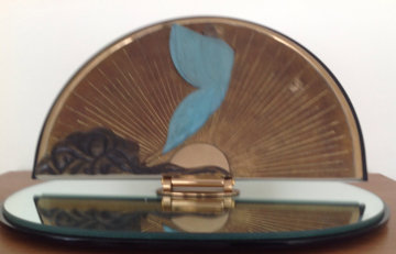 Transcendence Bronze Table Mirror 1984 Sculpture by  Erte