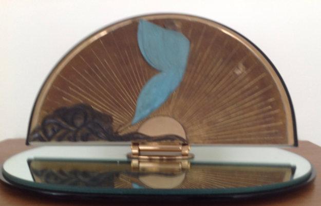 Transcendence Bronze Table Mirror 1984 Sculpture by  Erte