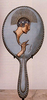 Pearls Bronze Hand Mirror 1985 Sculpture by  Erte