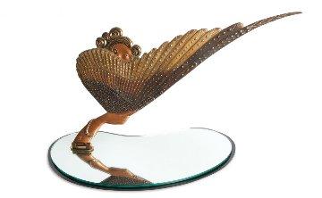 Coquette Bronze  Table Mirror 1985 Sculpture by  Erte