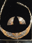 Nile Gold Necklace And Earrings 1980 Jewelry -  Erte