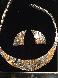 Nile Gold Necklace And Earrings 1980 Jewelry by  Erte