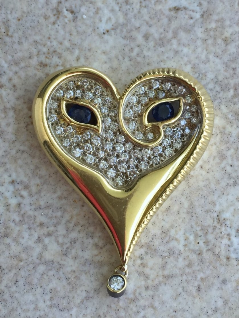 Mystery of the Heart  Gold Pendant 1984 Jewelry by  Erte