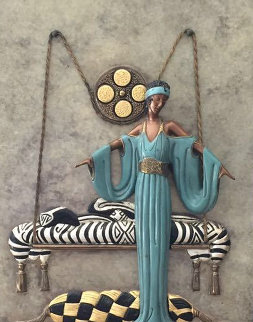 Pillow Swing Bronze Wall Bas Relief Sculpture 1988 Sculpture -  Erte