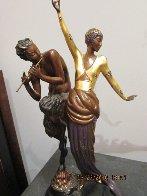 Woman And Satyr Bronze Sculpture 1985 Sculpture by  Erte - 1