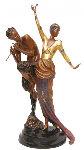 Woman And Satyr Bronze Sculpture 1985 Sculpture -  Erte