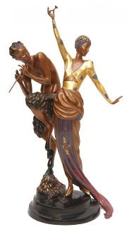 Woman And Satyr Bronze Sculpture 1985 Sculpture -  Erte