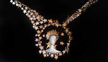 Gold Star Necklace With Napkin Drawing   Jewelry -  Erte