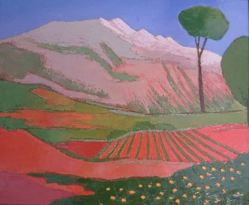La Montagne Rose 1917 24x28 Original Painting - Elizabeth Estivalet