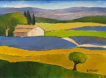 Bleu Das Lavandes Enete 21x18 Original Painting by Elizabeth Estivalet