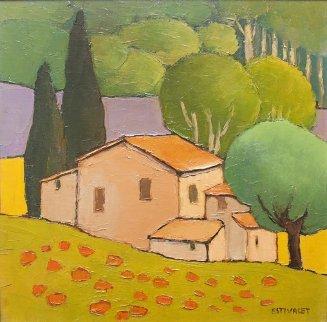 Maison En Pierre 21x21 Original Painting - Elizabeth Estivalet