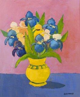 Les Iris 2000 25x29 Original Painting - Elizabeth Estivalet