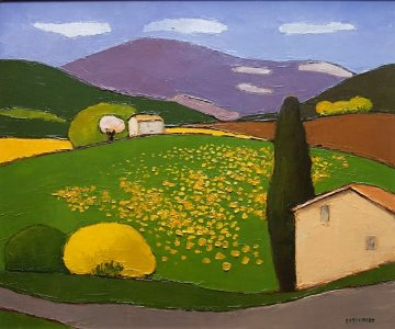Untitled Landscape 27x23 Original Painting - Elizabeth Estivalet