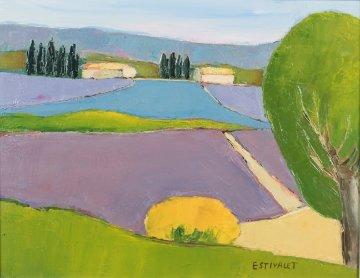 Les Lavandes Bleues Et Mauves 2000 20x17 Original Painting - Elizabeth Estivalet