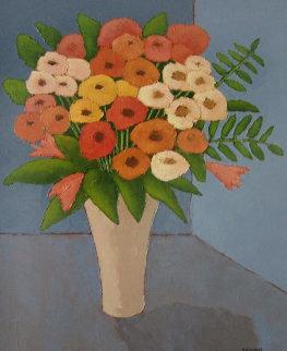 Les Fleurs De Printemps 26x22 Original Painting - Elizabeth Estivalet
