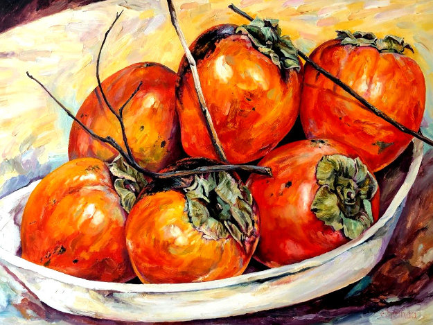 Persimmons 30x40 Original Painting by  Ethelinda