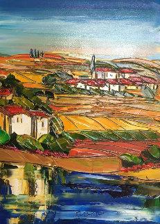 Untitled Landscape 37x29 Original Painting - Maya Evantov