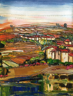 Untitled Landscape 37x29 Original Painting - Maya Eventov