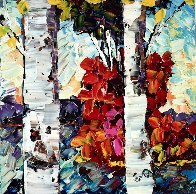 In the Forest VI 2015 14x14 Original Painting by Maya Eventov - 0