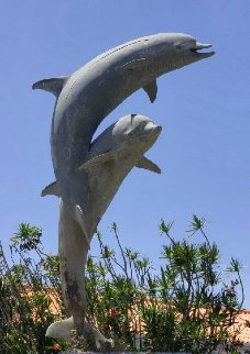 Dolphin Life Size Bronze   Sculpture  1991 84 in Huge Sculpture - Dale Evers