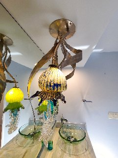 Jellyfish Sculptured Glass Light Fixture Unique 32 in Installation - Dale Evers