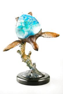 Sea Turtle Bronze Lamp 19 in Sculpture - Dale Evers