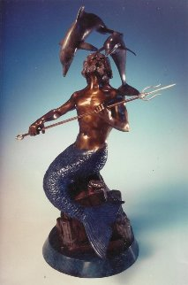 King Neptune Bronze Sculpture 1995 20 in Sculpture by Dale Evers