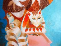 Cat Hat in Blue I 2007 36x18 Original Painting by Alina Eydel - 3