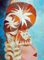 Cat Hat in Blue I 2007 36x18 Original Painting by Alina Eydel - 0